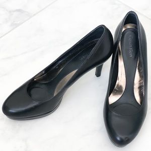 Black leather Calvin Klein heels